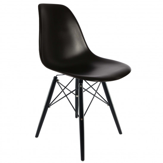 Eames inspired White Chair with Black DSW Legs