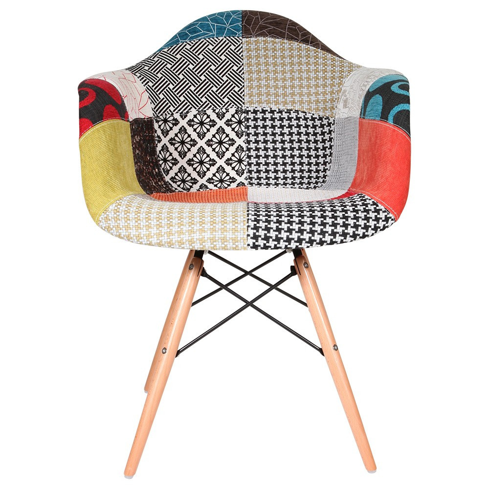 eames daw chair special patchwork upholstery On chaise patchwork