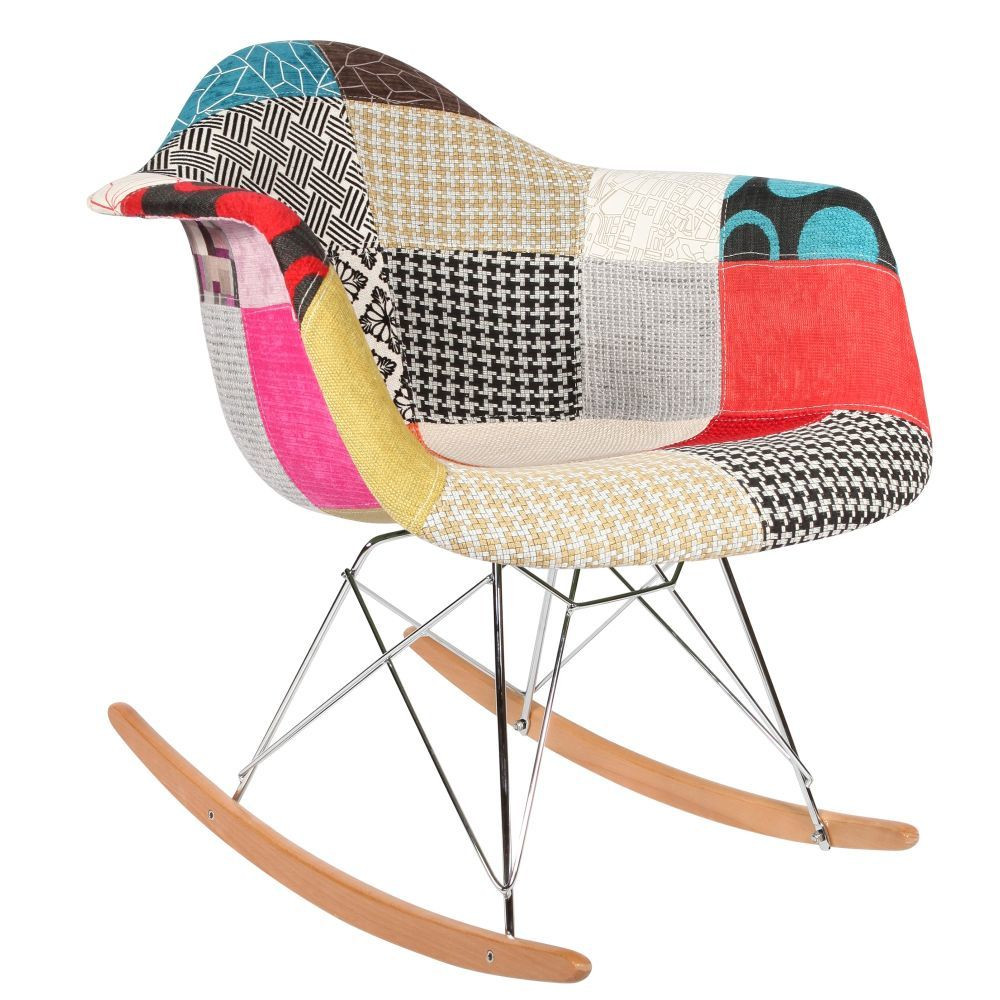 Chaise rocking chair patchwork eames rar for Chaise a bascule rar blanche eames